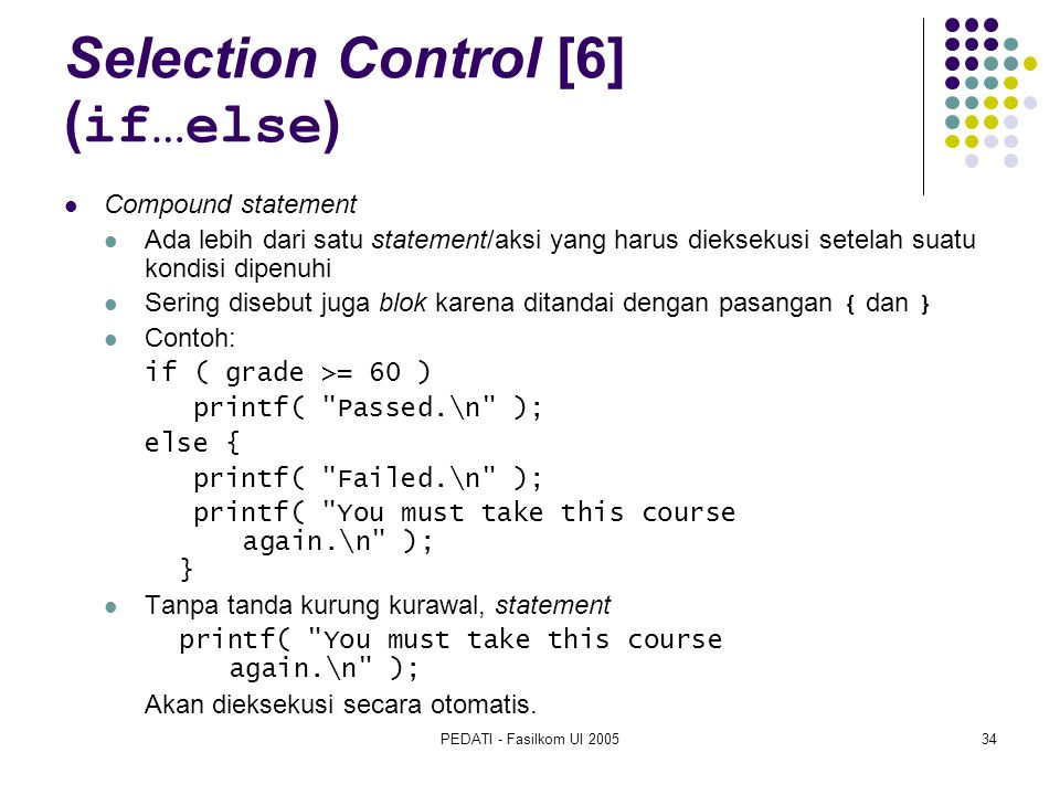 Selection Control [6] (if…else)